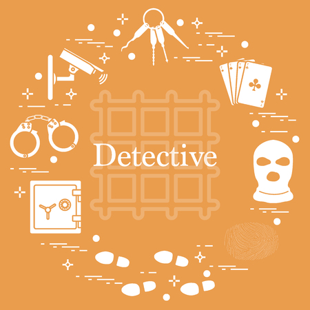 Criminal and detective elements. Crime, law and justice vector icons design for announcement and print.