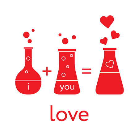 You and me and our chemistry of love. Design for banner, poster or print. Greeting card Valentines Day. Çizim