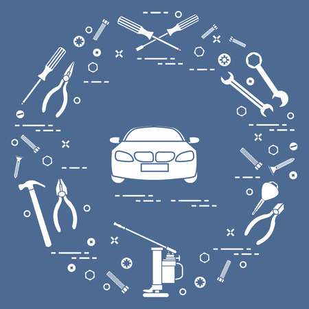 Repair cars: automobile, wrenches, screws, key, pliers, jack, hammer, screwdriver. Design for announcement, advertisement, banner or print. Illustration