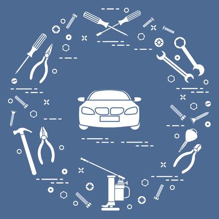 Repair cars: automobile, wrenches, screws, key, pliers, jack, hammer, screwdriver. Design for announcement, advertisement, banner or print. Ilustração
