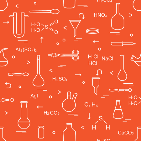 Pattern with chemical, biological, scientific, education and research elements: flasks, formulas, beaker, funnel, U-shaped tube, Petri dish, dropper, crucible forceps, holder, retort, spoon.