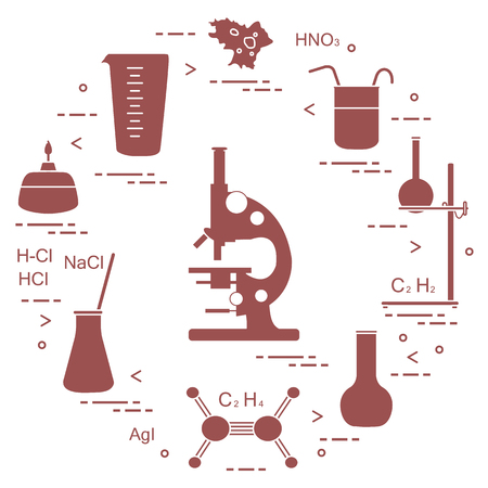 Chemistry scientific, education elements: microscope, flasks, tripod, formulas, beaker, burner, amoeba, measuring cup. Design for banner, poster or print.