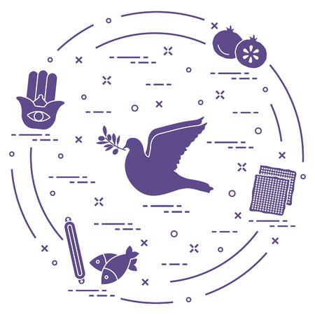 Jewish symbols: dove, olive branch, pomegranate, matzah, fish, hamsa, mezuzah. Design for postcard, banner, poster or print. Stock Vector - 93070841
