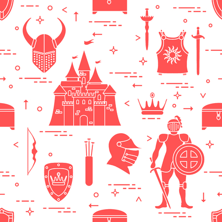 A Seamless pattern with knight, castle, shields, swords, cuirass, helmet, crown, treasure chest, bow, quiver of arrows. Design for banner or print. Vettoriali