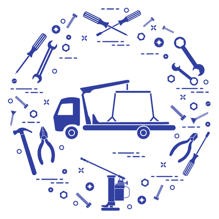 Repair cars: tow truck, wrenches, screws, key, pliers, jack, hammer, screwdriver. Design for announcement, advertisement, banner or print.