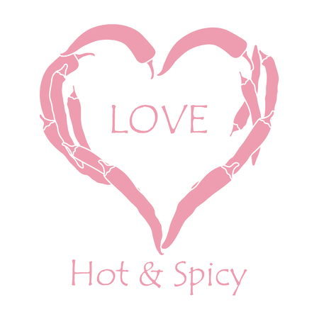 Heart of hot chilli peppers. Design for banner, poster or print. Greeting card Valentines Day. Vectores