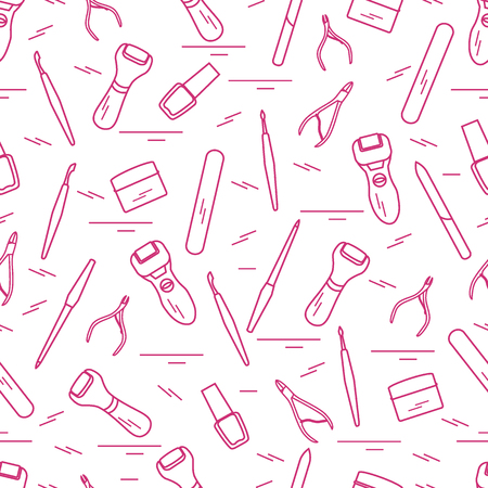 A Seamless pattern with variety tools for manicure and pedicure. Personal care. Design for banner, poster or print.