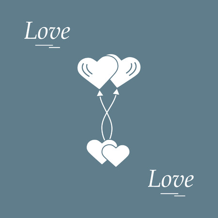 Cute vector illustration of love symbols: heart air balloons icon and two hearts. Romantic collection. Design for banner, flyer, poster or print.  Vettoriali