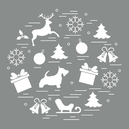Different new year and christmas symbols. Winter elements. Design for postcard, banner and print.