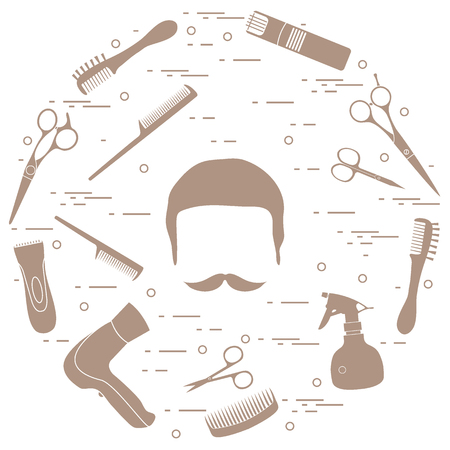 Illustration of men hairstyles, beards and mustaches, hairdresser tools care. Male haircuts. Barbershop symbol.