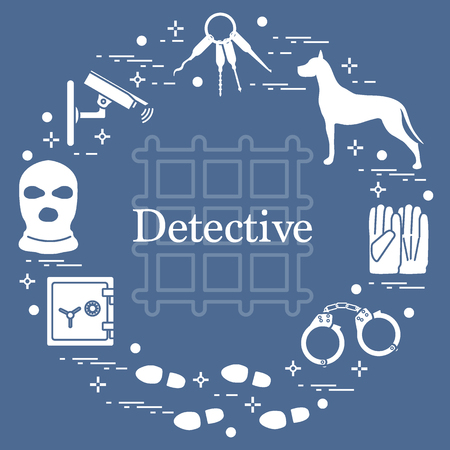 Criminal and detective elements. Crime, law and justice vector icons. Design for announcement, print. Vettoriali