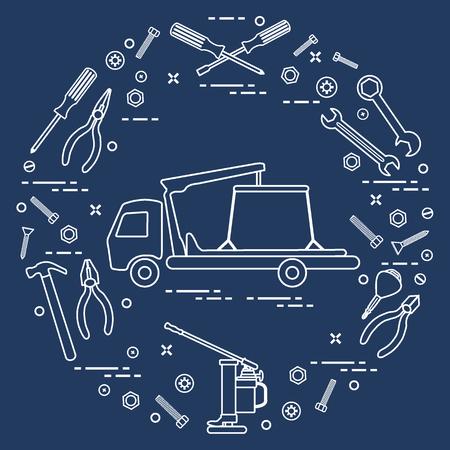 修理車:レッカー車、レンチ、ネジ、キー、ペンチ、ジャック、ハンマー、ドライバー。お知らせ、広告、バナー、印刷用のデザイン。 写真素材 - 93294141
