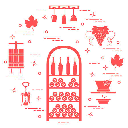 Winemaking: the production and storage of wine. Culture of drinking wine. Design for announcement, advertisement, print. Ilustrace