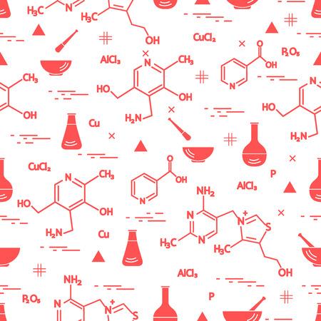 Modèle sans couture avec divers éléments scientifiques et éducatifs: fiole, formule, pilon et autres. conception pour bannière, affiche ou impression.