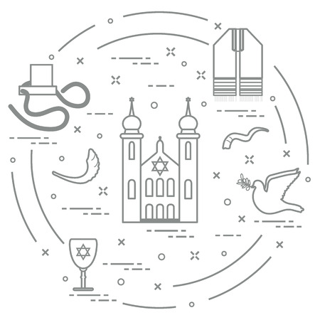 Jewish symbols: tfillin, synagogue, sheep's horn, dove, david's star and other. Design for postcard, banner, poster or print.