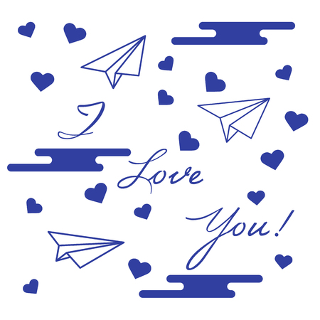 Paper airplane, hearts, clouds and inscription i love you.Template for design, fabric, print. Greeting card Valentines Day.