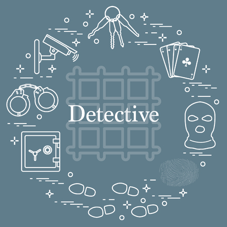 Criminal and detective elements. Crime, law and justice vector icons. Design for announcement, print. Иллюстрация