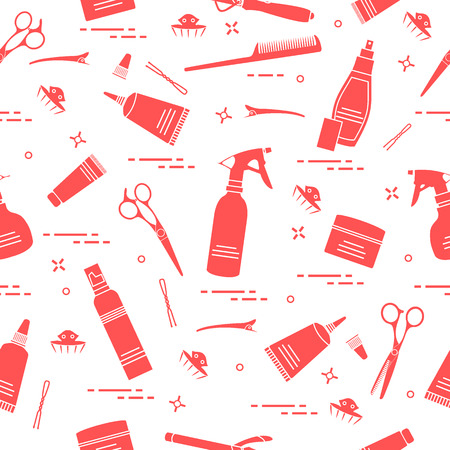 Seamless pattern with professional hairdresser tools. Fashion and beauty background. Design for announcement, advertisement, print.