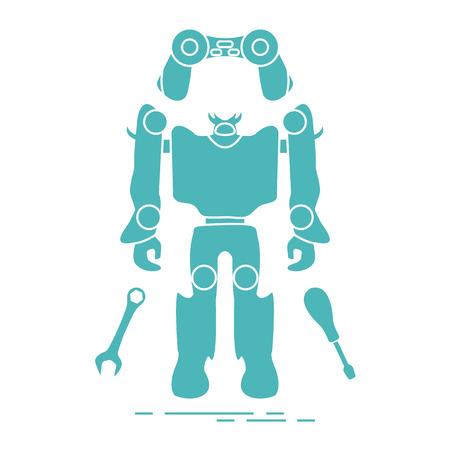 Toys for children: robot, remote control, spanner, screwdriver. Design for banner, poster or print.