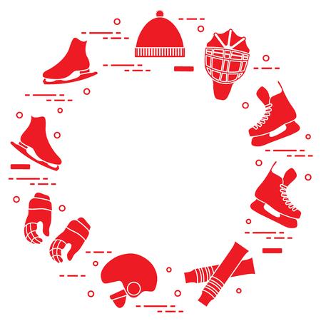 Skates, gloves, hat, goalkeepers mask and helmet, leggings. Winter sports elements.