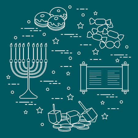 Jewish holiday Hanukkah dreidel, sivivon, menorah, coins, donuts and other. Design for postcard, banner, poster or print.