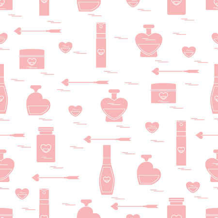 Cute seamless pattern with various accessories for the care of your body and hair: perfume bottles, cream, hair spray and other. Design element for postcard, banner, flyer, poster or print.