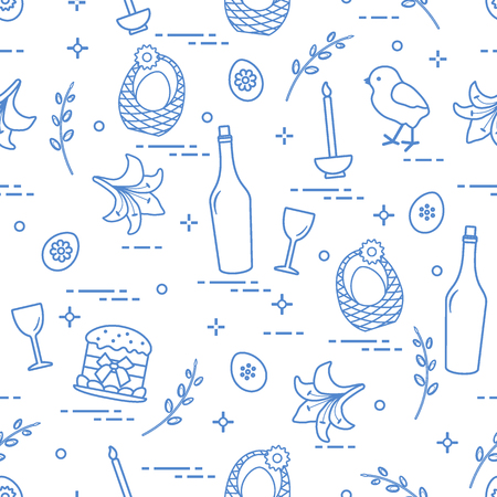 Pattern of Easter symbols: Easter cake, chick, lily, baskets, eggs and other. Design for banner, poster or print. Illustration