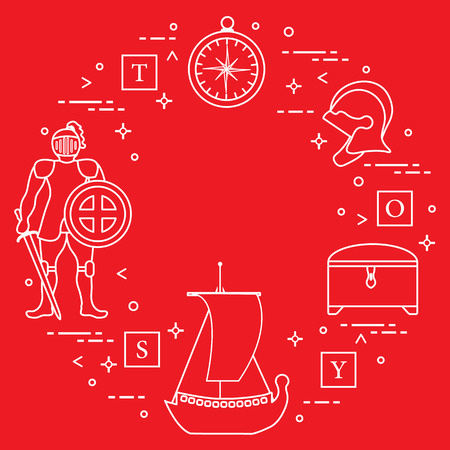 Knight, shield, sword, helmets, treasure chest, compass, ship, cubes. Design element for postcard, banner or print.