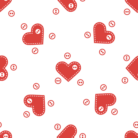 Cute seamless pattern with needle cases in shape of hearts and buttons.Template for design, fabric, print. Valentines day.