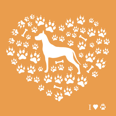 Belle image de grande silhouette de dane sur un fond de pistes de chien et os en forme de coeur sur un fond coloré . Banque d'images - 93708612
