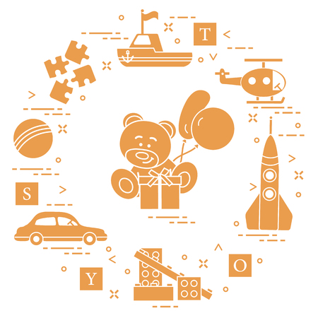 Children's toys: car, bear, ship, helicopter, rocket, designer, ball, puzzle, cubes, gift, balloons. Design for poster or print.