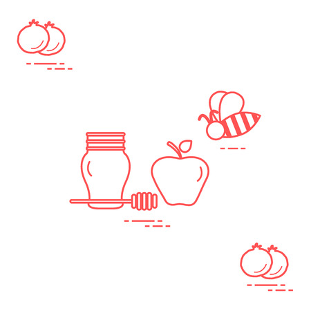 Apple in honey in Rosh Hashanah, pomegranate, bee. Traditional Jewish food and symbols. Design for postcard, banner, poster or print.