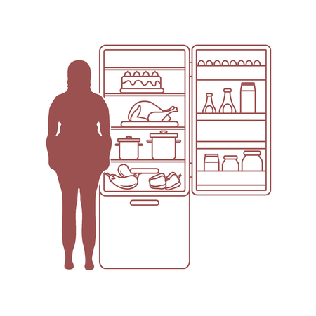Fat woman stands at the fridge full of food. Harmful eating habits. Design for banner and print. Vectores