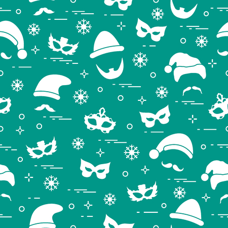 Pattern of different carnival decorations: masks, Christmas hats, mustache, beard. Carnival festive concept. Costume for a party.