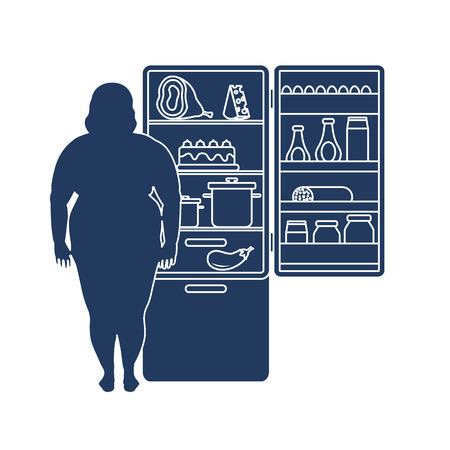 Fat woman stands at the fridge full of food. Harmful eating habits. Design for banner and print. Illustration