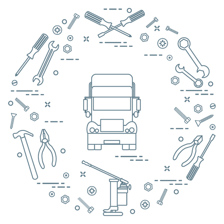 Repair cars: truck, wrenches, screws, key, pliers, jack, hammer, screwdriver. Design for announcement, advertisement, banner or print.