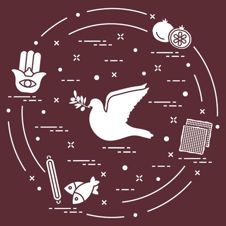 Jewish symbols: dove, olive branch, pomegranate, matzah, fish, hamsa, mezuzah. Design for postcard, banner, poster or print. Illustration
