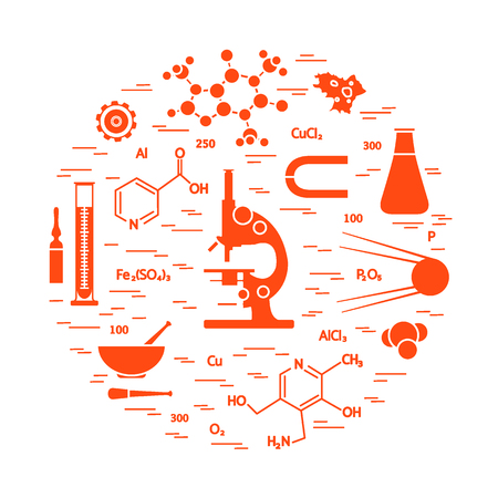 Stylized vector icon of variety scientific, education elements microscope, flask, formula, pestle and other. Design for banner, poster or print. Illustration