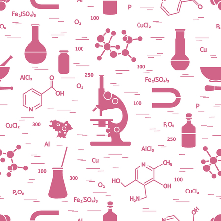 Seamless pattern with variety scientific, education elements: microscope, flasks, formula, pestle and other. Design for banner, poster or print.