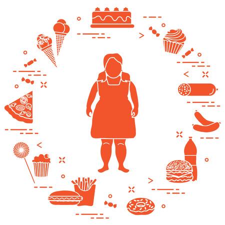 Fettes Mädchen mit ungesunden Lebensstil um ihn herum . Schädliche Essgewohnheiten . Design für Banner und Druck Standard-Bild - 93976486