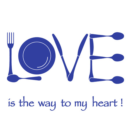Inscription LOVE from cutlery. Design for banner, poster or print. Greeting card Valentine's Day. Vettoriali