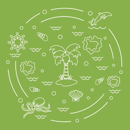 Cute vector illustration with different objects related to tourism and outdoor recreation arranged in a circle. Design for banner, poster or print.  イラスト・ベクター素材