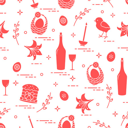 Pattern of Easter symbols: Easter cake, chick, lily, baskets, eggs and other. Design for banner, poster or print. Stock Illustratie