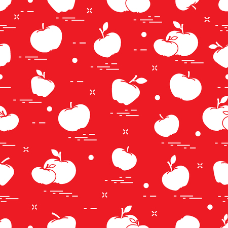 Apples juicy fruit. Seamless pattern. Design for announcement, advertisement, banner or print. Illustration