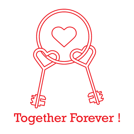 Keys in heart shape and the words together forever. Design for banner, poster or print. Greeting card Valentine's Day.