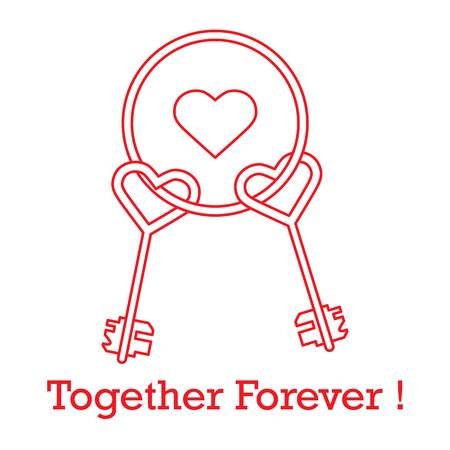 Clés en forme de coeur et les mots ensemble pour toujours. Conception pour bannière, affiche ou impression. Carte de voeux Saint Valentin. Vecteurs