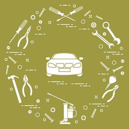 修理車:自動車、レンチ、ネジ、キー、ペンチ、ジャック、ハンマー、ドライバー。お知らせ、広告、バナー、印刷用のデザイン。 写真素材 - 93939950
