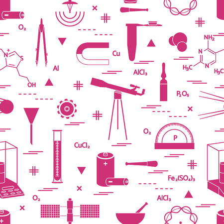 Seamless pattern with variety scientific, education elements: dividers, formula, test-tube, satellites, batteries and other. Design for banner, poster or print.  イラスト・ベクター素材
