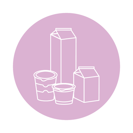 Different dairy products. Design for banner, poster or print. Illustration