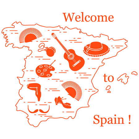Vector illustration with various symbols of Spain arranged in a circle. Travel and leisure. Design for banner, poster or print. Vettoriali